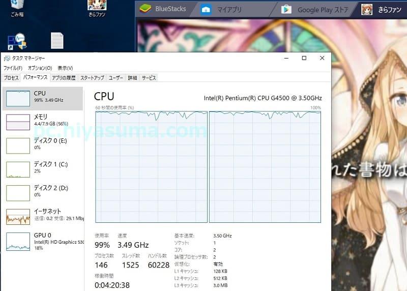 CPU Pentium G4500のBlueStacks4起動中の負荷