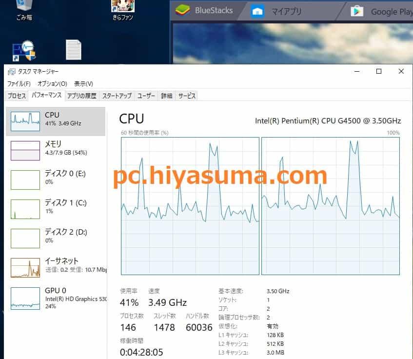 CPU Pentium G4500のBlueStacks4 ゲーム中の負荷