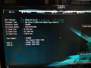 Deskmini A300のUEFI画面
