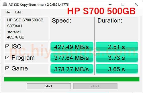 AS SSD Benchmarkでコピーベンチもやってみた。