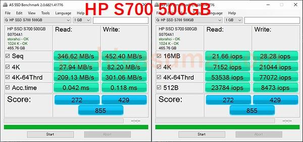 HP S700 500GBをAS SSD Benchmarkでテストした。