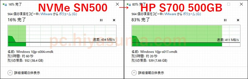 WD SN500 500GBからHP S700 500GBへコピーしてみた。