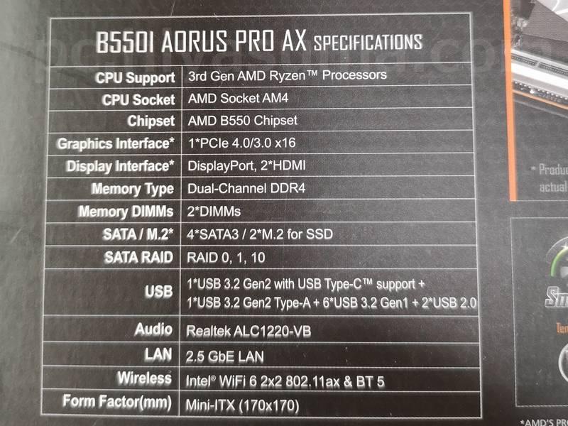 B550I AORUS PRO AXの箱に印刷されているスペック表