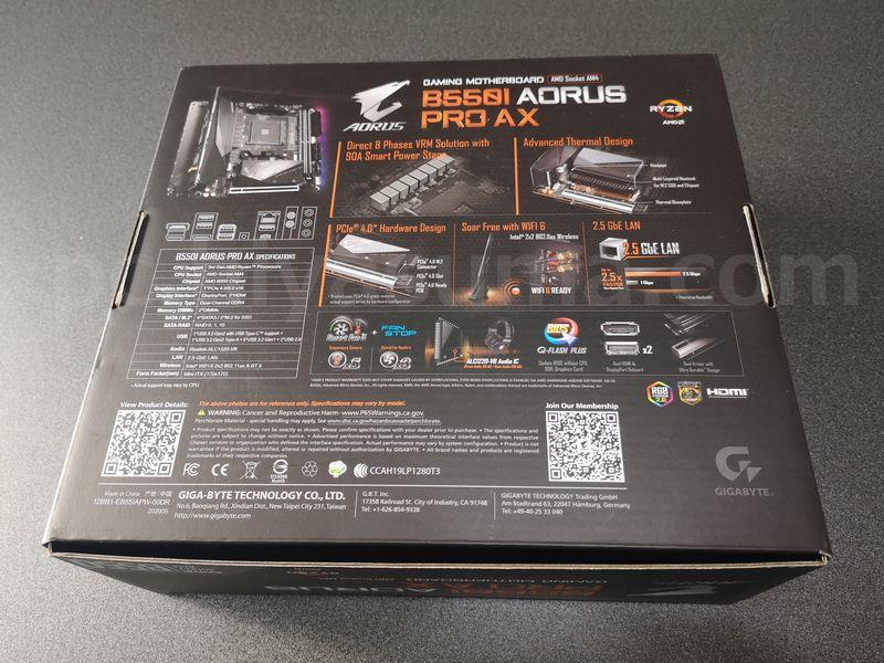 B550I AORUS PRO AXの箱の裏側