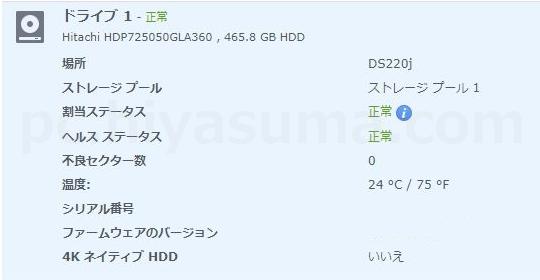 DS220jのHDDが1台だけでもドライブ自体は正常と表示されています。